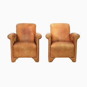 Thick Neck Leather Club Chairs, 1980s, Set of 2