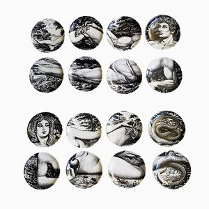 Adam & Eve Ceramic Coasters Collection by Piero Fornasetti, 1960s, Set of 16