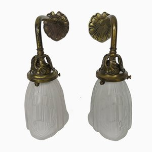 Art Nouveau Brass and Frosted Glass Sconces, Set of 2