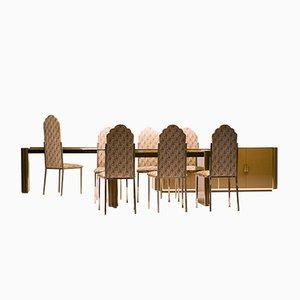 Französisches Esszimmerset von Alain Delon für Maison Jansen, 1970er, 10er Set