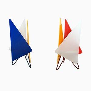 Lámparas de mesa de hierro y plexiglás, años 50. Juego de 2
