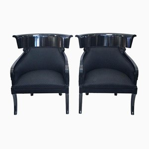 Austrian Neoclassical Black Lacquered Wooden Armchairs, 1970s, Set of 2