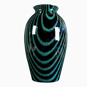 Large Mid-Century Black & Green Glass Vase from Peill & Putzler