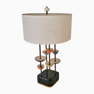 Modernistische Keramik & Messing Lampe