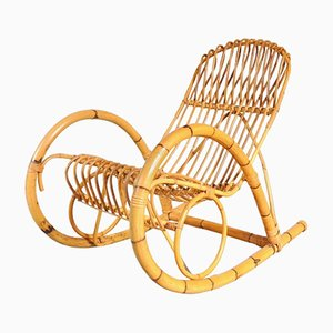 Italian Rattan Rocking Chair, 1950s