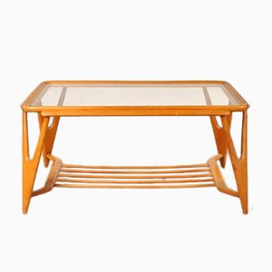 Italian Wood & Glass Coffee Table, 1950s