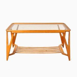 Mesa de centro italiana de madera y vidrio, años 50