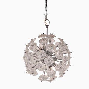 Lámpara de araña sputnik belga de vidrio y cromo