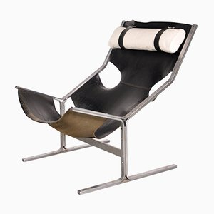 Dutch Leather Lounge Chair by Pierre Thielen, 1960s