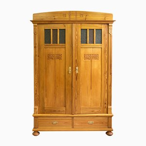Art Nouveau Softwood Wardrobe with Glass Insets, 1910s