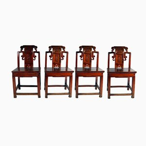 Antique Red Chinese Carved Wood Chairs, 1860s, Set of 4