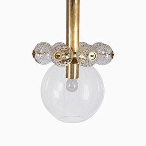 Lampada a sospensione in ottone e vetro di Kamenicky Senov