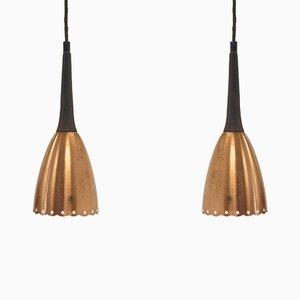 Lámparas colgantes escandinavas Mid-Century de palisandro y latón, años 60. Juego de 2