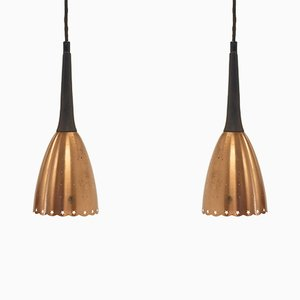 Mid-Century Scandinavian Rosewood and Brass Ceiling Pendants, 1960s, Set of 2