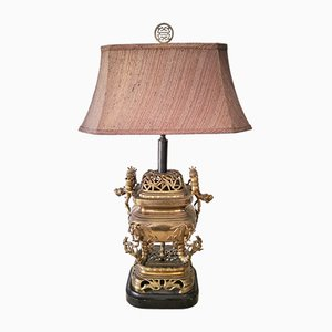 Brass Bamboo Dragon Lamp