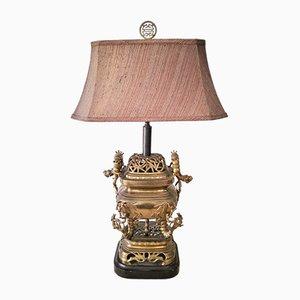 Lámpara dragón de latón y bambú