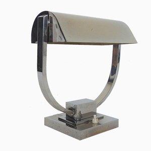 Modernistische Französische Vernickelte Messing Tischlampe, 1930er