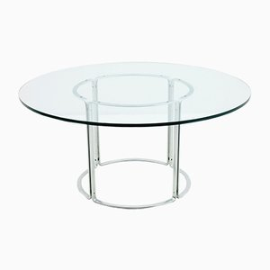 German Steel and Glass Dining Table by Horst Brüning for Kill International, 1970s