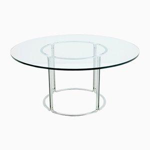 Mesa de comedor alemana de vidrio y acero de Horst Brüning para Kill International, años 70