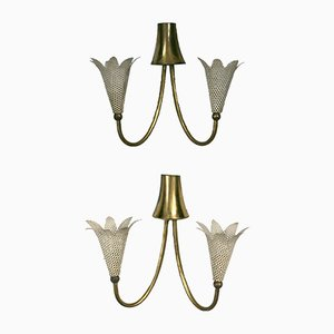 French Flower-Shaped Sconces, Set of 2