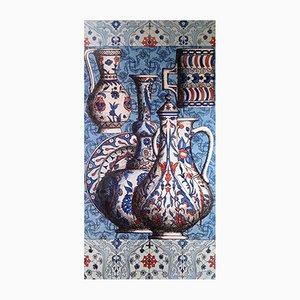 Pannello Iznik vintage in ceramica dipinta di Piero Fornasetti, anni '50