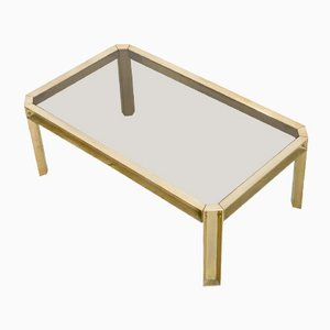 Solid Brass & Smoked Glass Coffee Table, 1970s