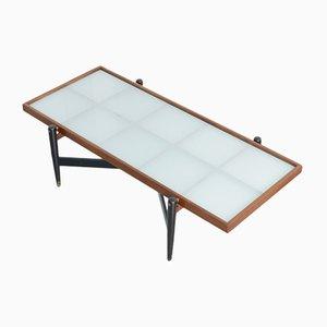 Table Basse Vintage en Teck avec Plateau en Verre Givré