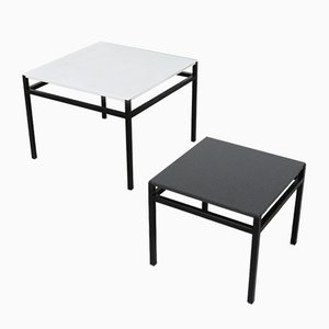 Table d'Appoints Minimalistes Noires et Blanche, 1960s, Set de 2