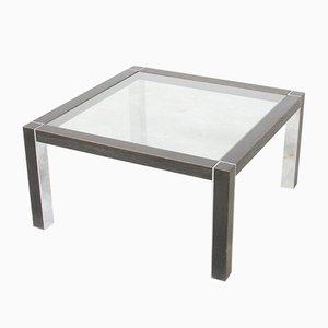 Mesa vintage de metal cromado y madera