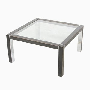 Table Basse Vintage en Chrome et en Bois