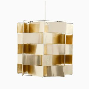 Gold Colored Aluminum Pendant Lamp by Max Sauze, 1970s
