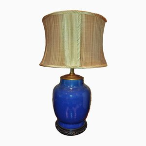 Lámpara de jarra de jengibre en azul de cerámica