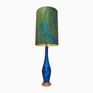 Swedish Tall Blue Lava Glaze Table Lamp