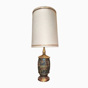 Glazed & Patterned Ceramic Lamp with Original Matching Shade