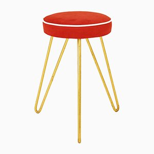 Austrian Anthroposophic Brass & Fabric Stool, 1950s