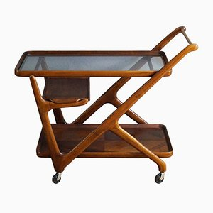 Italian Walnut Bar Cart by Cesare Lacca for Cassina, 1950s