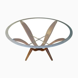 Italian Walnut, Brass & Glass Coffee Table, 1950s