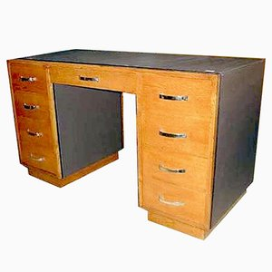 Oak and Chocolate Leather Art Deco Desk