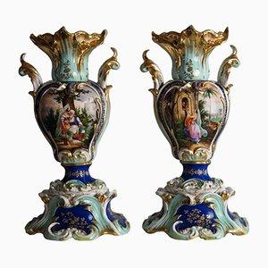 Jarrones antiguos pintados a mano, década de 1850. Juego de 2