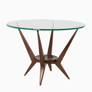 Italian Organic Wood and Glass Coffee Table, 1950s
