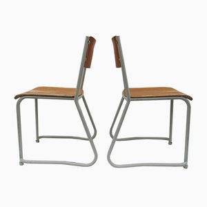 Stackable School Chairs, 1950s, Set of 18