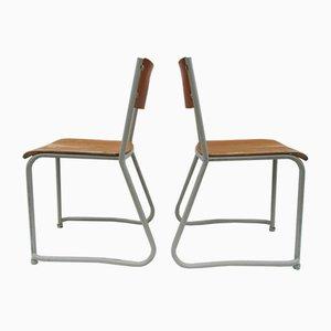 Stackable School Chairs, 1950s, Set of 18