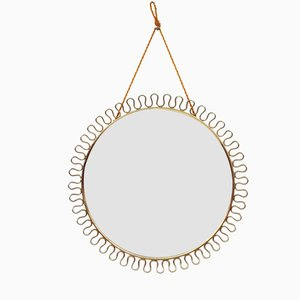 Round Swedish Brass Mirror by Josef Frank for Svenskt Tenn, 1950s