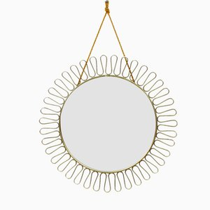 Round Swedish Brass Mirror, 1950s