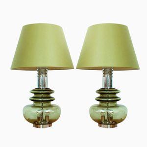 German Glass & Chrome Table Lamps from Doria Leuchten, 1960s, Set of 2