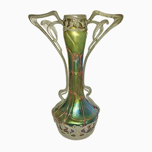 Iridescent Art Nouveau Bohemian String Glass Vase in a Spelter Mount