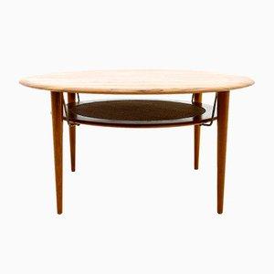 Tavolino da sofà rotondo FD 515 di Peter Hvidt & Orla Molgaard Nielsen per France & Son, anni '60
