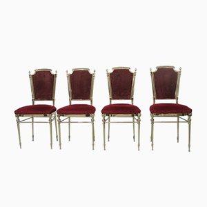 Stühle aus Massivem Messing in Italienischem Stil, 1959, 4er Set