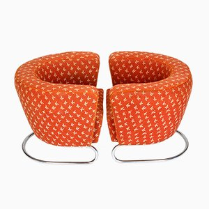 Czech Red Fabric & Tubular Steel Armchairs, 1930, Set of 2