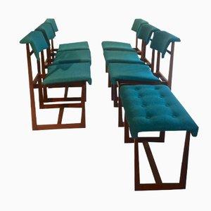Palisander Esszimmerstühle und Hocker von Henning Sørensen for Hos Dan-Ex, 1950er, 7er Set
